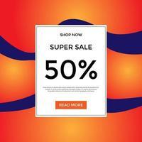 banner di vendita ondulato incandescente arancione per i social media