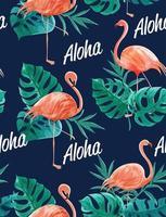 modello dell'acquerello di fenicotteri, foglie e aloha testo vettore