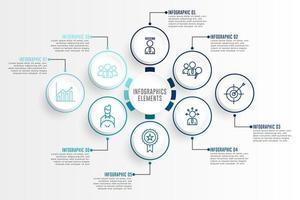 set di elementi di contorno blu infografica con icone