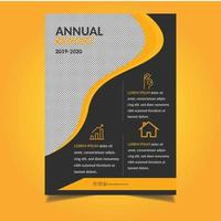 modello di relazione annuale arancione con ritaglio ondulato