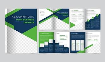 modello di brochure verde e blu con dettagli a triangolo