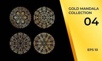 collezione mandala decorativa dorata vettore