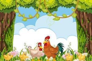 cartoni animati polli e fiori con sfondo di nuvole