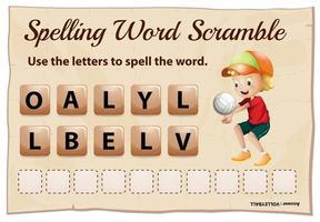modello di scramble parola ortografia con parola pallavolo vettore