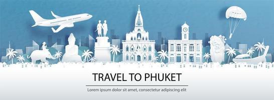 pubblicità di viaggio per phuket, Tailandia con vista panoramica vettore