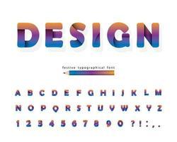 carta tagliata gradiente alfabeto 3d