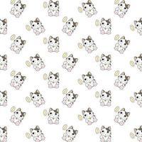 gatti dei cartoni animati con motivo a bolle di pensiero vettore