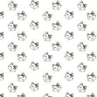 modello di facce di gatto felice dei cartoni animati vettore