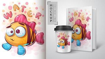 poster di pesce divertente e merchandising vettore