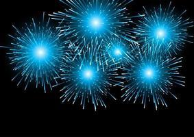 fuochi d'artificio blu su fondo nero vettore