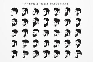 set di barba e acconciature da uomo vettore