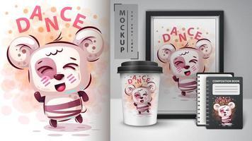 disegno dell'orso di danza simpatico cartone animato