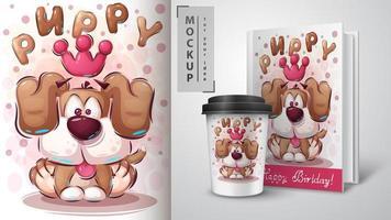 poster di cucciolo principessa dei cartoni animati vettore