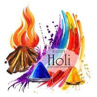 carta di Holika Dahan con spruzzata di fuoco e arcobaleno