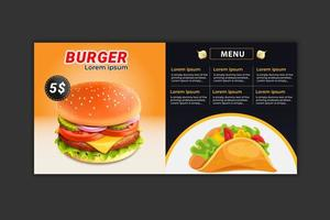 modello di menu di hamburger vettore