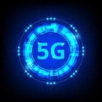 Icona digitale blu incandescente di tecnologia 5g
