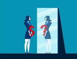 donna di affari con il segno del dollaro con la riflessione in specchio