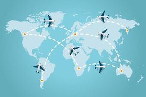 aeroplani che sorvolano la mappa del mondo vettore