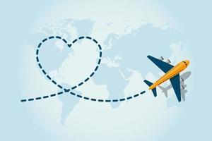 aeroplano in volo e lasciando linea tratteggiata a forma di cuore