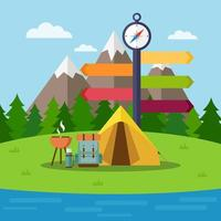 scena da campeggio con tenda, zaino e griglia