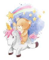 simpatico orso cavalcando unicorno con stella scintillante vettore