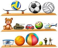 palline e altri giocattoli sullo scaffale vettore