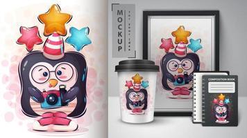 pinguino prendendo selfie e poster e merchandising