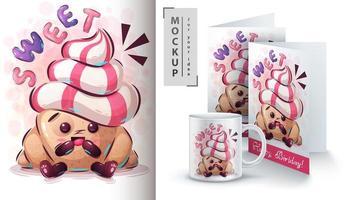 poster e merchandising di cornetti dolci vettore