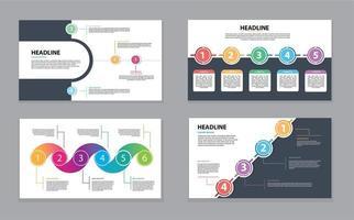 modello di cronologia infografica con cerchi colorati
