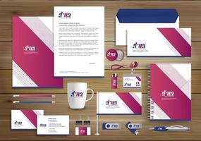 identità di design angolo rosa e articoli promozionali
