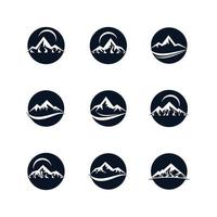 montagna nel set di icone del cerchio