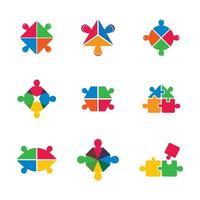 insieme dell'icona di lavoro di squadra di affari del pezzo di puzzle vettore