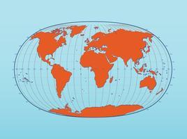 Mappa del mondo con latitudine e longitudine vettore
