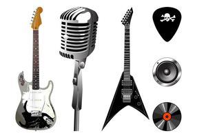 Set di grafica per attrezzature musicali vettore