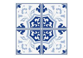 Vettore blu delle mattonelle floreali di Delft