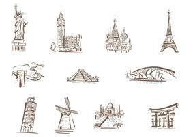 Vettori di monumenti famosi disegnati