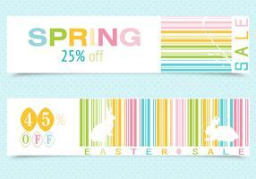 Vettori di banner di codici a barre di Pasqua di primavera