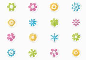 Insieme di vettore di adesivi floreali freschi