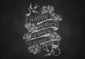 Vettore dell'insegna del nastro di festa della mamma disegnata gesso