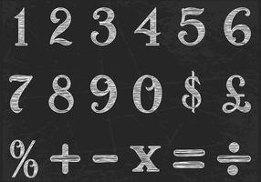 Insieme di vettore di numeri disegnati gesso