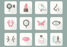 Insieme di vettore di icone di cura di bellezza piatta