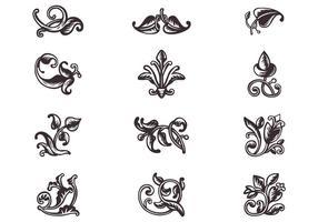 Insieme di vettore degli ornamenti del rotolo di Swirly