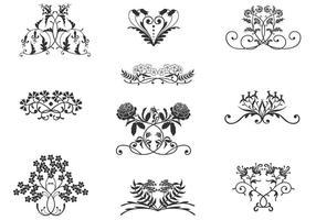 Pacchetto di vettore di ornamenti floreali vintage