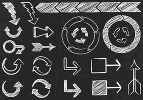 Insieme di vettore delle frecce disegnate gesso