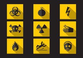 Raccolta di vettore delle icone piane d'avvertimento del pericolo