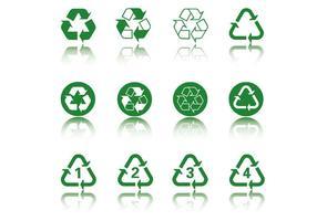 pacchetto di vettore icona verde di riciclo