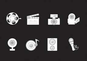 Pacchetto di icone di media vettoriale