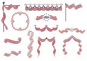 Confezione di vettore USA Ribbon Banners