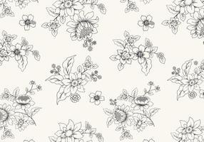 Vettore floreale in bianco e nero disegnato a mano