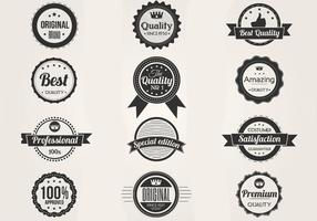 Black and White Premium Badges Vector Set